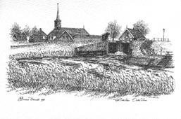 Het Oude Veer te Oudesluis Getekend door Reinoud Brandt 1998